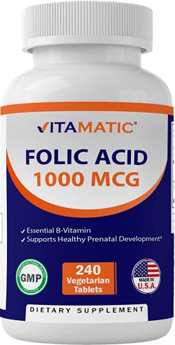 Vitamatic Folic Acid 1000 mcg (1 mg) - 240 Vegetarian Tablets - 1667 mcg DFE - Vitamin B9