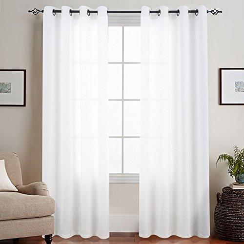 TOPICK Sheer Vorhang Mit Ösen Transparent Gardine 2 Stücke Gaze Paarig schals Fensterschal Vorhänge 225 cm x 135 cm(H x B) 2er-Set Weiß