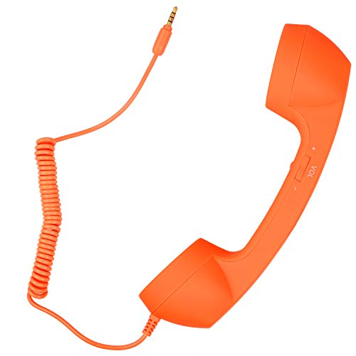 Retro Handset Old School Style Adjustable Tone Phone Telephone Receiver Microphone Earphone 3.5mm Socket for iOS Android Smartphones Mobile Cell Phones (Orange)