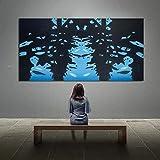 KWzEQ Escena Abstracta Pintura al óleo del Famoso Pintor sobre Lienzo impresión Sala de Estar decoración del hogar Cartel Moderno,Pintura sin Marco,30x60cm