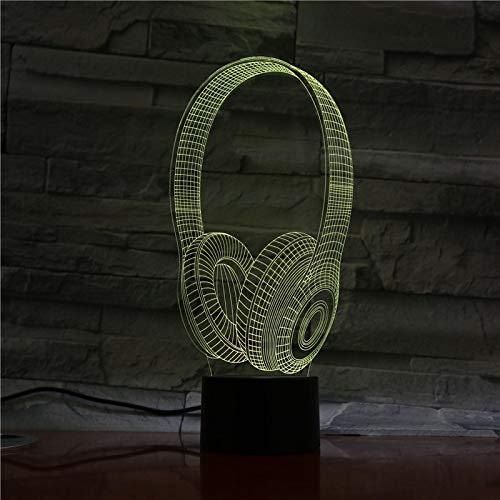 Nueva Lámpara 3D Auriculares Dj Illlusion Música Auriculares Luz Nocturna Auriculares Lámpara De Escritorio Colorida Decoración De Dormitorio 1pc