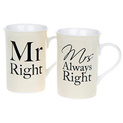 Lesser & Pavey–Tazza da caffè Tazze da tè Mr Right & Mrs Always Right His Hers design Gift boxed by Dochsa by Dochsa