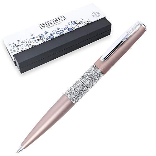 ONLINE Dreh-Kugelschreiber Crystal Celebrities Rosegold, mit Kristallen von Swarovski®, Großraummine