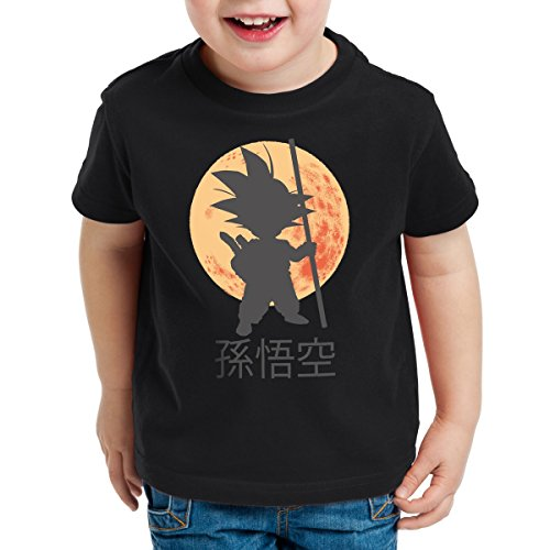 style3 Goku Moonlight Camiseta para Niños T-Shirt, Color:Nero;Talla:128