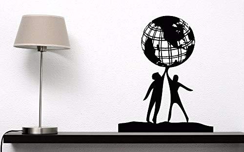 guijiumai Wand Vinyl Aufkleber Menschen Welt Freundschaft Wandkunst Wandbild Erde Globus Planet Frieden Design Wandtattoo Home Art Decora75X97CM