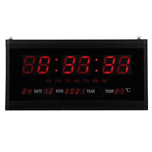 Jimfoty Reloj LED, Reloj de Pared Digital LED de Gran tamaño Reloj del Calendario de la Fecha Moderna de la Moda, Sala de Estar Dormitorio Decoración de Oficina(Enchufe de la UE)