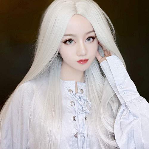 LDSBGJ Pruik pruik in het midden lang steil haar zilver witte mannen en vrouwen universele anime pruik kostuum film en televisie make-up