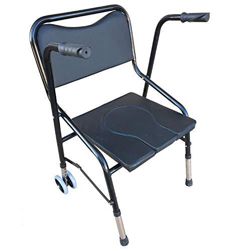 OMLTER Faltbar 4 Räder Alte Leute Gehhilfe, Aluminium Legierung Stuhl Gehhilfe, Licht Fußstütze Helfen Zu Gehen Gehhilfe, Mit Sitz Und Rahmenbox, Für Innen Und Außen