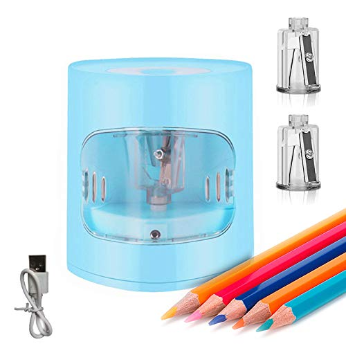 Wownadu Sacapuntas eléctrico con contenedor para adultos y niños, cable USB y 2 cuchillas de sacapuntas incluidas para la...