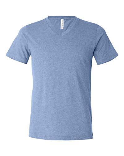 Bella 3415 Unisex Triblend Short Sleeve V-Neck Tee - Blue Triblend44; Large