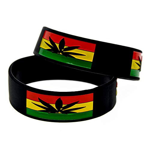 Zdy 1 Paar Silikon-Armband Jamaika Blatt Silikon-Armband 1 Zoll-Farben-Armband Hip-Hop Trend Armband