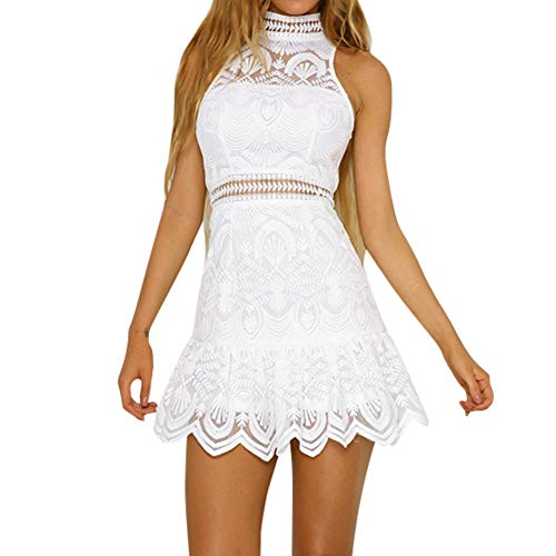 Dresses for Women Sleeveless Halter Neck Backless Lace Patchwork Ruffle Boho Sundress Evening Party Beach Mini Dress