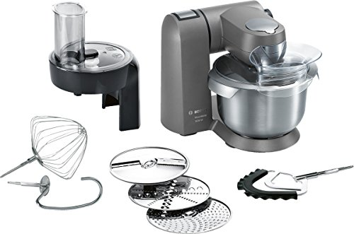Bosch MUMX25GLDE Küchenmaschine MaxxiMUM (1600 W, 5,4 L Edelstahl-Rührschüssel, 3D PlanetaryMixing, Smart dough sensor), granite grau