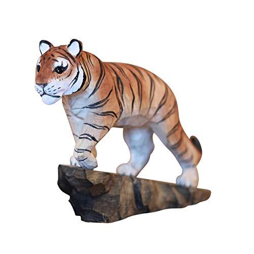 zunruishop Statuette de Bouddha Naturel Bois Sculpture Statue Animal Deux Zodiac Tiger Sculpture Creative Home Décoration Cadeau Cadeau d'ouverture décoration