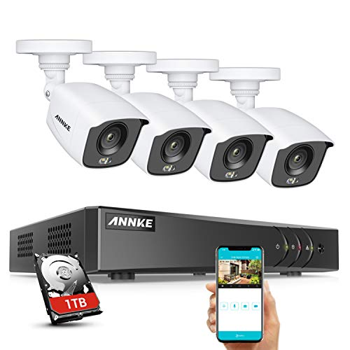 ANNKE 8CH 5MP H.265+ DVR, 1080P True Color Night Vision CCTV Camera System, 1TB Hard Drive, 4X 2.0MP HD Weatherproof Outdoor Security Camera, Smart Array LEDs, Remote Access, Easy DIY