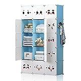 YOZO Modular Wardrobe Clothes Portable Storage Organizer Closet Chest Drawer Polyresin Bedroom Armoire Cubby Shelving Unit Dresser Multifunction Cabinet DIY Furniture, White, 8 Cubes