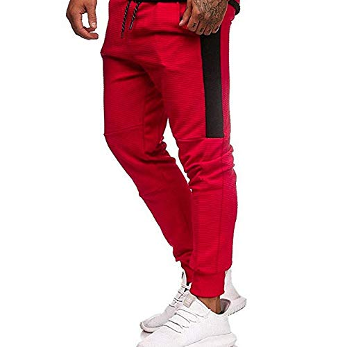 Pantalones Deportivos para Hombre Patchwork Costura Moda Rayas Laterales Cordn Cintura elstica Deportes Fitness Pantalones Ajustados Large
