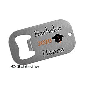 """Bedruckte Edelstahl Flaschenöffner bzw. Kapselheber Klein – Motiv""""Bachelor 2020″ mit Ihrem Wunschnamen"""