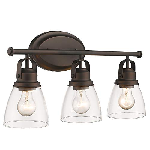 Zeyu 3-Light Vanity Light, 21 Inch Bathroom Light Fixtures Vanity Light Over Mirror, Oil Rubbed Bronze Finish with Clear Glass Shade, 103-3W-ORB