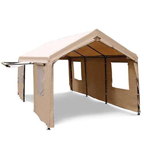 Abba Patio 10 x 20-Feet Heavy Duty Carport Canopy with Windows and Sidewalls, Beige