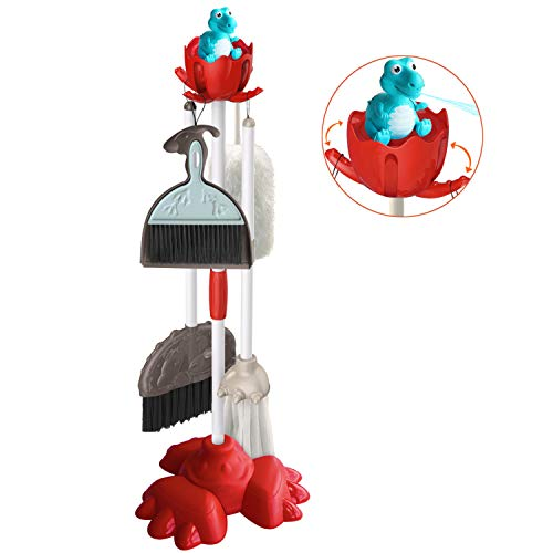 Aomeiqi Kids Cleaning Set Housekeeping Toy Kitchen Cleaning Tools 6 Piece Pretend Play Cleaning Toys for Toddlers Kids Includes Broom, Mop, Brush, Dustpan, Duster, and Organizing Stand (Full Set)