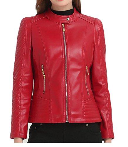 Pivaconis Womens Plus Size Faux Leather Full-Zip Moto Biker Short Jacket Coats Red US 2XL