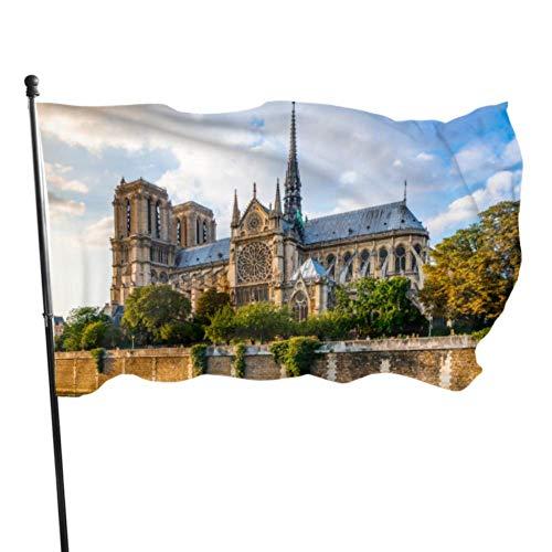 JDQP Belle Notre Dame De Paris Drapeau Décor Drapeaux Adulte 3x5 Pieds Couleurs Vibrantes Qualité Polyester et Oeillets en Laiton