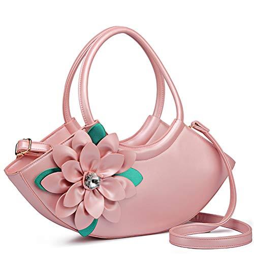 Kurier-Blumen-Diamant-einzelne Schulter-Handflut-Paket-Halbmond-Ledertasche Pink
