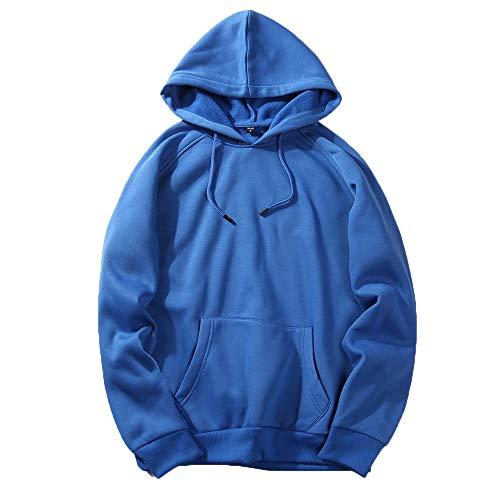 UJUNAOR Herren Langarm Hoodie T-Shirt Kapuzenshirt Mit Kapuze Männer Pullover in Vielen Farben(Blau,L)