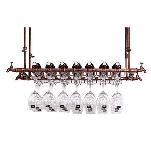 Soporte para Copa de Vino Sostenedor del vino for copas Bastidores grifo Diseño montado techo colgante de soporte for botella de vino del metal Vidrios del cubilete de vino titular de hierro cáliz