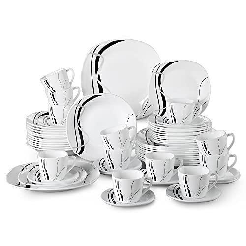 Tafelservice Opalglas, VEWEET Fionaglas 60 tlg | Geschirrset beinhatlet Kaffeetassen 220 ml, Untertasse, Dessertteller, Speiseteller und Suppenteller| Kombiservice für 12 Personen