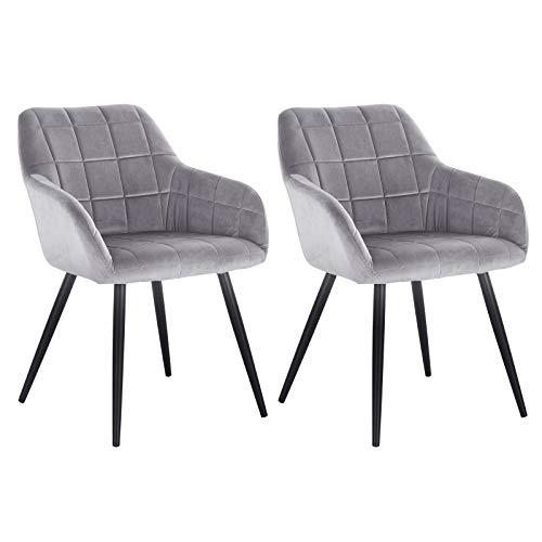WOLTU® Esszimmerstühle BH93gr-2 2er Set Küchenstuhl Polsterstuhl Wohnzimmerstuhl Sessel mit Armlehne, Sitzfläche aus Samt, Metallbeine, Grau