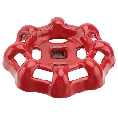 BESTonZON Ventil Handrad Gusseisen Kugelhahn Ventil 7mm Rot Absperrventil Wasserhahn Wasserrohr Oberteil Griff Ersatz Zubehör