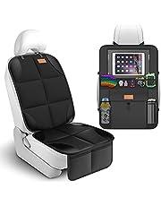 [Smart eLf] 1680Dチャイルドシートマット保護マット キックガード カバー 2点セット滑り止車用座席保護シート 収納ポケット付き Baby カーシートプロテクター