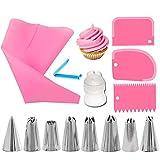 Kits de Puntas de boquillas para Pasteles de 14 Piezas con Bolsas de pastelería Reutilizables, Bolsa para glaseado, 3 raspadores de plástico y Estuche de Almacenamiento, (Color : Pink)