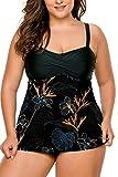 LALAGEN Women's Straps Swimdress Plus Size Two Pieces Tankini Bikini Set Black Flo-1 XXXL