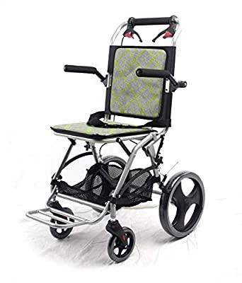 yuwell Lightweight Transport Wheelchair with HandBrakes,18 lbs Folding Transport Chair, 12 inch Wheels