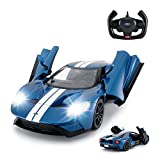 RASTAR RC Car   1/14 Ford GT Remote Control RC Race Toy Car for Kids, Open Doors by Manual, Blue (2.4GHz)