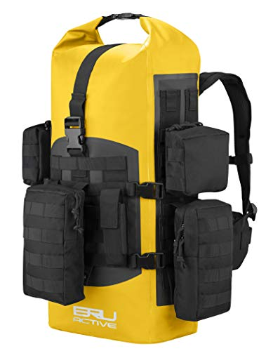 BRU Active Premium 40l Dry Bag PVC - Tactical Waterproof Backpack - Zippers, Drawstring, Heavy Duty Adjustable Straps Kayaking, Boating, Hiking, Water Sports, Fishing (Yellow)