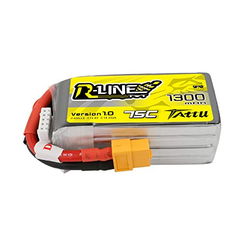 Tattu R-Line 14.8V 1300mAh 4S 75C LiPo Battery Pack with XT60 Plug for FPV Racing Nemesis 240 Skylark Emax Nighthawk ZMR QAV 250