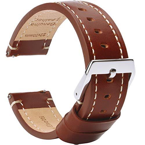 BRISMASSI ESETTI Correas de Reloj de Cuero Correa de Reloj de Liberación Rápida Plano - Pulsera de Reloj de Cuero Genuino Liso - 20mm 22mm 24mm para Hombres y Mujeres, Relojes y Smartwatches