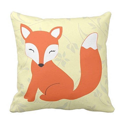Warrantyll Cute Jaune Baby Fox Canapé Home décoratifs Coussin décoratif carré Taie d'oreiller, Coton, #Color 1, 20\