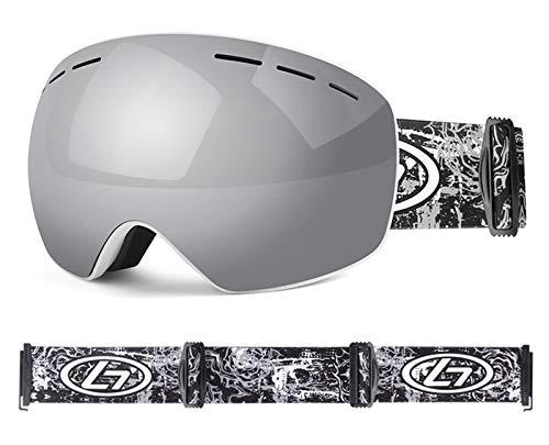 XDKS Gafas de esquí, esquí y snowboard, gafas OTG para hombre y mujer, protección UV antivaho, compatible con casco (plateado y blanco)