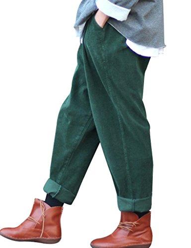 Youlee Frauen-elastische Taille Corduroy Hose mit Taschen Dunkelgrün Einheitsgröße