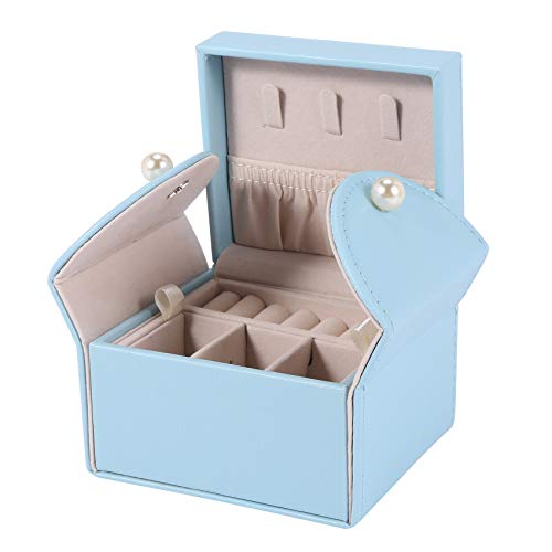 TOOGOO Peque?O Joyero Organizador Caja de Almacenamiento de Microfibra de Cuero PU para Pendientes, Anillos, Collares, Azul Cielo