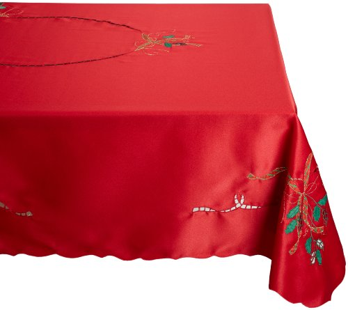 Lenox Holiday Nouveau Tablecloth, 60 by 84-Inch Oblong/Rectangle, Red