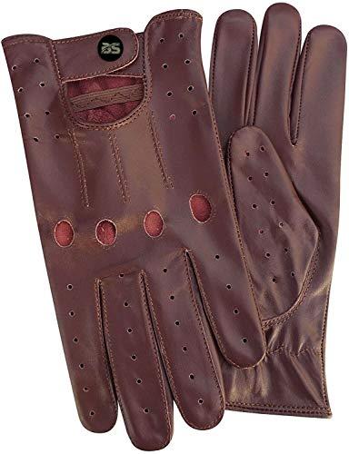 Guanti da guida in pelle da uomo Morbida alta qualità in vera pelle di mucca guanti classici stile retrò alta qualità (L, Bordo)