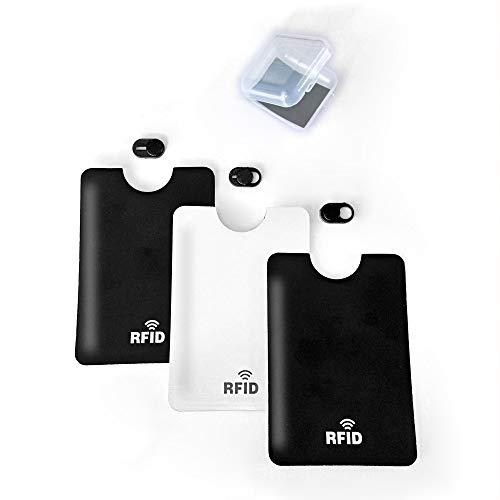 Kuikit - 3 Protector de Webcam para movil + 3 Funda Bloqueador RFID con Adhesivo para Movil, Cover Slider Diseño Ultra Fino Tapa Webcam para Todo Tipo de Ordenadores Portátiles, Tabletas y Móviles