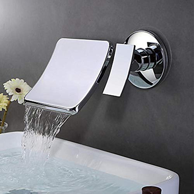 Ayhuir Waschbecken Wasserhahn - Wasserfall Wand Chrom Wandmontage Einhand-Doppelloch Wasserhahn Messing