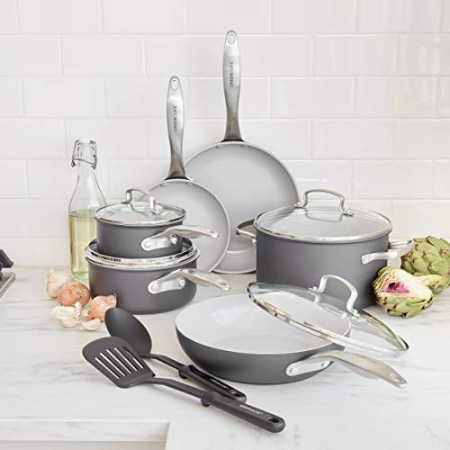 GreenLife Classic Pro Healthy Ceramic Nonstick, Cookware Pots and Pans Set, 12 Piece, Light Gray